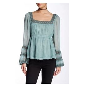 NEW Free People Moonchaser Lace Trim Blouse